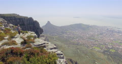 Moving Aerial from top of Table Mountain, Man Stock Footage