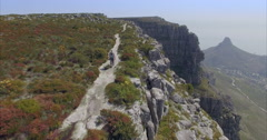 Aerial of Man and Baby Walking on Top of Table Mountain Stock Footage