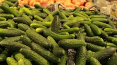 Green cucumber  in supermarket Stock Footage