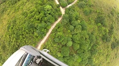 View from the cable car cabin in Lantau island, Hong Kong. Stock Footage