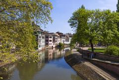 Water canal in Petite France area in Strasbourg city, France Stock Photos