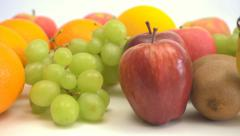 4k motorized dolly shot of colourful fruits Stock Footage