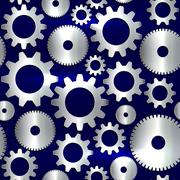 Vector seamless background in tech style with golden gears - stock illustration