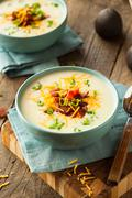 Creamy Loaded Baked Potato Soup Stock Photos