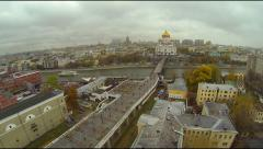Drone Flight through smoke in Moscow Stock Footage