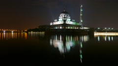 Timelapse Night to Day of floating Mosque At Putrajaya Stock Footage