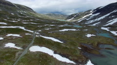Driving across mountain pass in Norway Stock Footage
