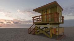 4K Time lapse pan shot Miami Beach rescue hut Stock Footage