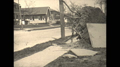 Vintage 16mm film, 1929 Illinois, post tornado B-roll, wind ripped tree - stock footage