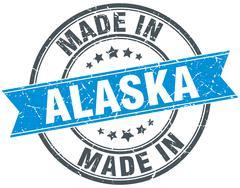 made in Alaska blue round vintage stamp - stock illustration