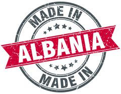 Made in Albania red round vintage stamp Stock Illustration