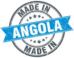 made in Angola blue round vintage stamp - stock illustration
