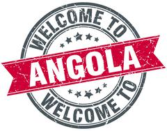 welcome to Angola red round vintage stamp - stock illustration