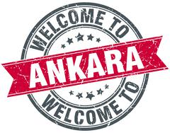 welcome to Ankara red round vintage stamp - stock illustration