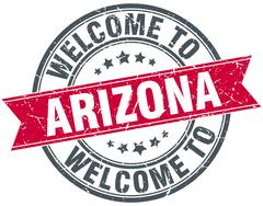 Welcome to Arizona red round vintage stamp Stock Illustration