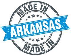 made in Arkansas blue round vintage stamp - stock illustration