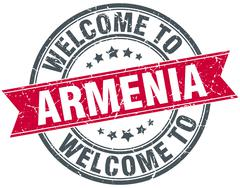 welcome to Armenia red round vintage stamp - stock illustration