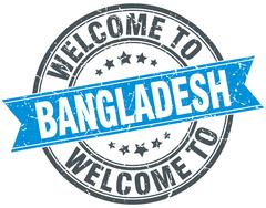 welcome to Bangladesh blue round vintage stamp - stock illustration