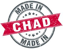 made in Chad red round vintage stamp - stock illustration