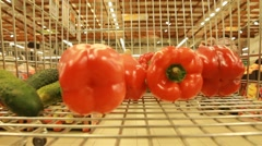 Fresh vegetables in the supermarket Stock Footage
