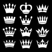 White crowns on black background - stock illustration