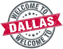 welcome to Dallas red round vintage stamp - stock illustration