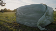 Silage Bales On Farmland In The Early British Summer - stock footage