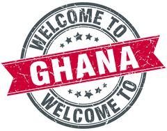 welcome to Ghana red round vintage stamp - stock illustration