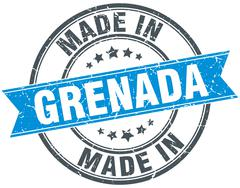 made in Grenada blue round vintage stamp - stock illustration