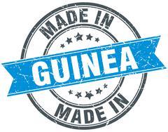 made in Guinea blue round vintage stamp - stock illustration