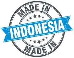 made in Indonesia blue round vintage stamp - stock illustration