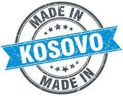 made in Kosovo blue round vintage stamp - stock illustration