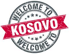 Welcome to Kosovo red round vintage stamp Stock Illustration