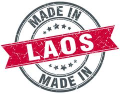 made in Laos red round vintage stamp - stock illustration