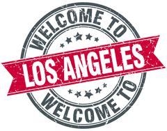 welcome to Los Angeles red round vintage stamp - stock illustration