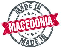 made in Macedonia red round vintage stamp - stock illustration