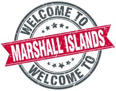 Welcome to Marshall Islands red round vintage stamp Stock Illustration