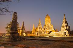 Beautiful Wat Chai Watthanaram temple in ayutthaya Thailand at twilight time Stock Photos