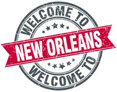 Welcome to New Orleans red round vintage stamp Stock Illustration