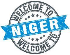 Welcome to Niger blue round vintage stamp Stock Illustration