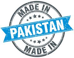 made in Pakistan blue round vintage stamp - stock illustration