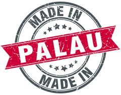 Made in Palau red round vintage stamp Stock Illustration