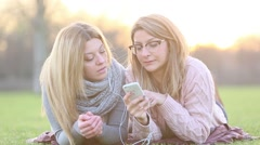 Listening music from mobile phone Stock Footage