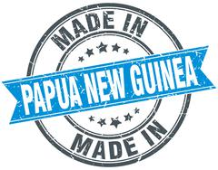 Made in Papua New Guinea blue round vintage stamp Stock Illustration