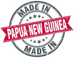 Stock Illustration of made in Papua New Guinea red round vintage stamp