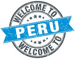 welcome to Peru blue round vintage stamp - stock illustration