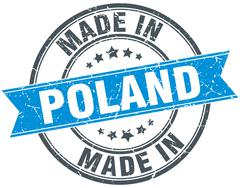 made in Poland blue round vintage stamp - stock illustration