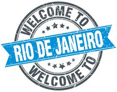 welcome to Rio De Janeiro blue round vintage stamp - stock illustration
