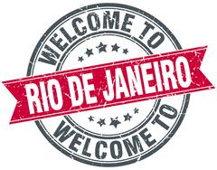 welcome to Rio De Janeiro red round vintage stamp - stock illustration