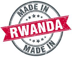 made in Rwanda red round vintage stamp - stock illustration